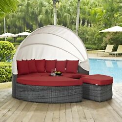 Outdoor Patio Wicker Rattan Canopy Daybed & Sunbrella® Canvas Red Cushion