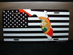 FLORIDA STATE FLAG AND AMERICAN FLAG METAL NOVELTY CAR LICENSE PLATE TAG $12.99