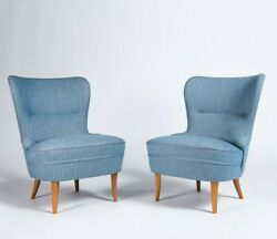 Mid Century Lounge Chairs in Blue Wool With Oak Legs Swedish 1950's