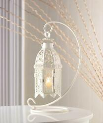 10 FANCY WHITE CANDLE HOLDER LANTERNS WEDDING TABLE CENTERPIECES LOT NEW $199.95