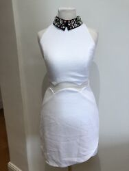 Three Floor White Dress With Embroideres Collar Uk8 GBP 40.00