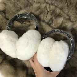 Double Side Fur & Foldable Warm Real Rex Rabbit Fur Earmuffs EarWarmers -white