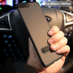 Luxury Ultra Thin Kickstand Carbon Fiber Case Cover For Apple iPhone 7  8 Plus