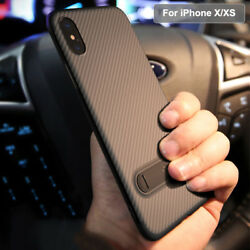 Luxury Ultra Slim Kickstand Carbon Fiber Case Cover For Apple iPhone X  XS
