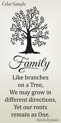 Joanie LG Stencil Family Branches Tree Roots Remain One Country Home Decor Signs $24.95