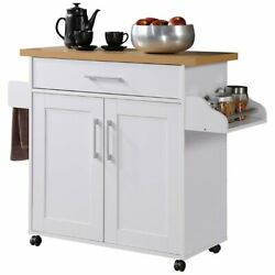Hodedah Kitchen Island with Spice Rack plus Towel Holder in White Wood $119.46