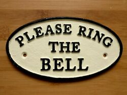 Please Ring The Bell Wall Sign Cast Iron Front Door Plaque Wall Easy Fix 17cm GBP 7.99