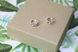 925 Sterling Silver Women Jewelry Small Hoop Elegant Crystal Ear Stud Earrings $6.99
