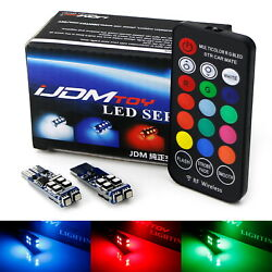 Multi-Color RGB 168 194 T10 LED Bulbs wRF Remote Control For Car Parking Lights