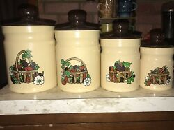 Vintage Kromex Aluminum Canister 8 Piece Set Tan & Brown Fruit & Flower Basket