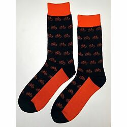 NWT Orange Bicycle Dress Socks Novelty Men 8 12 Black Fun Sockfly $6.99