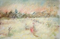 Children on a Snowy Day Elizabeth Van Court Oil Painting $895.00