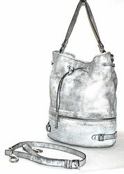 She + lo Shoulder Bag - Silver Lining Drawstring Bucket Pre-owned (See Cond.)