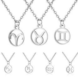 Charm Constellation Zodiac Necklace Chain Plated Silver Pendant Jewelry Gift New