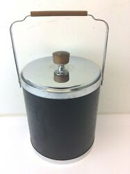 Vintage Kromex Made in USA Mid-Century Modern Ice Bucket Wood Handle Black Used