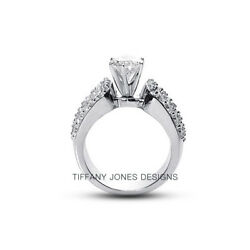 2.32ct tw F-SI2 Ex Round Natural Diamonds 950 PL. Pave-Rows Wide Band Ring 13.2g