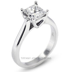 2.03ct J-SI3 Exc Princess Natural Diamond 950 PL. Cathedral Engagement Ring 7.3g