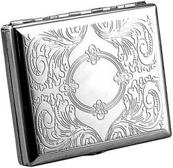 Victorian Style Cigarette Metal Case Double Sided King amp; 100s Etched Pattern L $8.95