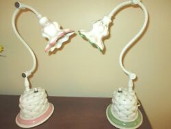 2 Hand Painted Tole Flowers Antique White Green Pink Porcelain Desk Bed Lamps $135.52