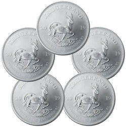 Lot of 5 2019 S Africa 1 oz Silver Krugerrand 1 Rand GEM BU SKU56936
