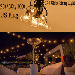 G40 Clear Outdoor Globe Patio String Lights 100t50t25t Lengths Light Bulbs
