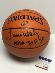 James Worthy Signed Spalding Game Ball Series Basketball quot;NBA Top 50quot; PSA 34926 $168.71