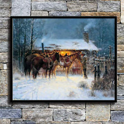 Western Cowboy Horse Winter Home Decor HD Canvas Print Picture Wall Art Painting $5.29