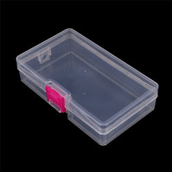 Plastic Clear Storage Box Jewelry Craft Container Organizer Case Pink Buckle H