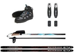 Whitewoods WHITETAIL Adult Metal Edge Cross Country NNN Skis Boots Poles Package $359.99