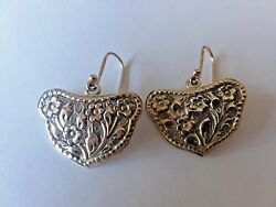 ARTISAN CRAFTED HANDMADE FLORAL DESIGN STERLING SILVER DANGLE EARRINGS