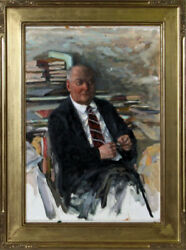 Marshall Goodman Portrait of a Man with Books Oil Painting