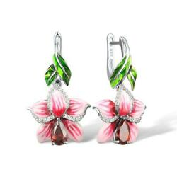 Pink and White Hibiscus Flower 925 Sterling Silver Dangle Earrings S01