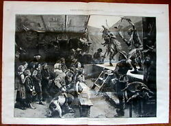 Native American Dance Exotic Menagerie stage show 1876 wood engraved print