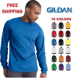 Gildan Cotton Long Sleeve T Shirt Mens Blank Casual Plain Tee Sport 5400 $8.68