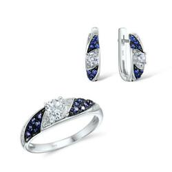 Distant North Star CZ 925 Sterling Silver Ring Earrings Set S01