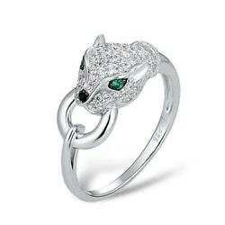 Fancy Panther Door Knocker 925 Sterling Silver Fashion Ring S01