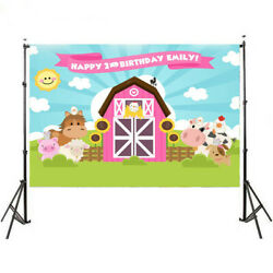 Farm Photography Backdrop Pink Barn Animals Barnyard House Kids Birthday Banners $12.99