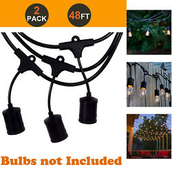 2PK 48FT LED Outdoor Waterproof Commercial Grade Patio String Light w NO bulbs $52.25
