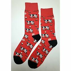 NWT Angry Cow Dress Socks Novelty Men 8 12 Red Fun Sockfly $6.99