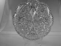 AMERICAN BRILLIANT CUT GLASS ANTIQUE CRYSTAL JEWELED CENTER HOBSTAR LOW BOWL $1250.00