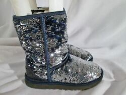 Youth Kids Girls UGG 1002765 CLASSIC SHORT SPARKLE boot BLUE SEQUIN 5 SILVER she
