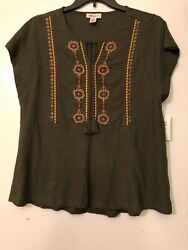 New Style & Co Woman's Embroidered Peplum Peasant Top  Olive  Plus Sizes   L14 $9.38
