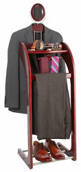 NEW Wooden Valet Stand for Clothes Tray Organizer Tie & Belt Hook Shoe Rack