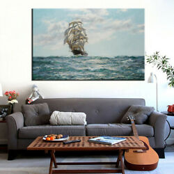 Nautical Ship Canvas Wall ArtCanvas Paintings Decor for Home OfficeFrameless $13.99