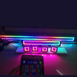 Bluetooth RGB Chasing Halo Led Light Bar Offroad 50inch + 20in + 4x 3