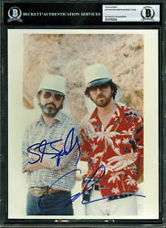 Steven Spielberg & George Lucas Authentic Signed 8x10 Photo BAS Slabbed