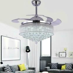 42quot; Silver Invisable Ceiling Fan Lamp Remote 36W LED Crystal Lighting Chandelier $218.44