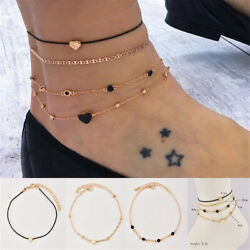 4PcsSet Women Gold Plated Heart Beads Crystal Ankle Chain Foot Anklet Jewelry