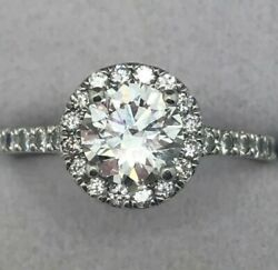 Hearts on Fire Halo Platinum G-VS AGS Ideal Cut Diamond Engagement Ring