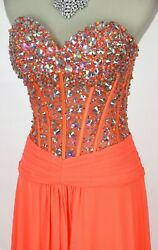 NEW $400 JVN By Jovani Beaded Corset Cliffon Dress Size 8 Orange Prom Formal NWT